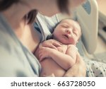 new born baby boy resting in... | Shutterstock . vector #663728050