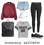 set of stylish clothes woman... | Shutterstock . vector #663728434
