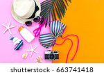 summer fashion woman swimsuit... | Shutterstock . vector #663741418