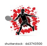 tennis player running   man... | Shutterstock .eps vector #663743500