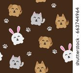 round animals pattern seamless... | Shutterstock .eps vector #663744964