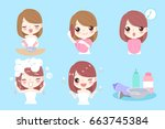 woman with hair coloring on the ... | Shutterstock .eps vector #663745384