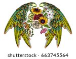 rose and flowers with angel or... | Shutterstock .eps vector #663745564