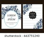 vintage delicate invitation... | Shutterstock .eps vector #663751240