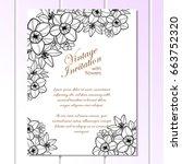 romantic invitation. wedding ... | Shutterstock .eps vector #663752320