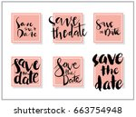 save the date wedding card.... | Shutterstock .eps vector #663754948