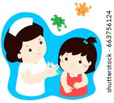vaccination child cartoon... | Shutterstock .eps vector #663756124