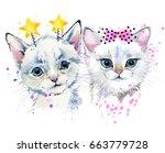 Stock photo cute cat kitten watercolor illustration 663779728