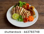 sliced chicken breast barbecue... | Shutterstock . vector #663783748