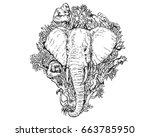 vintage detail realistic hand... | Shutterstock .eps vector #663785950