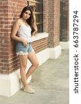 girl modeling fashionable... | Shutterstock . vector #663787294
