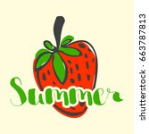 letters with strawberry on... | Shutterstock .eps vector #663787813
