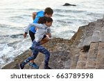 sunrise workout fitness regime  ... | Shutterstock . vector #663789598