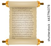 old scroll with bible text.... | Shutterstock .eps vector #663796378