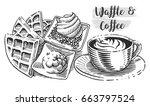hand drawn breakfast... | Shutterstock .eps vector #663797524