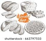 hand drawn bread bakery set in... | Shutterstock .eps vector #663797533