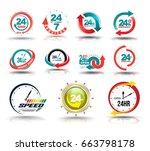 24 hours open customer service... | Shutterstock .eps vector #663798178