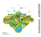 ecology concept. green hills.  | Shutterstock .eps vector #663803560
