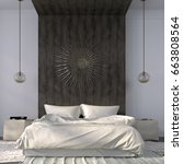 modern bedroom in light colors... | Shutterstock . vector #663808564