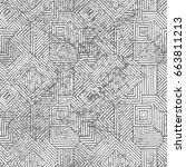 seamless geometric vintage...   Shutterstock .eps vector #663811213