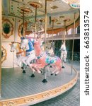 traditional playground carousel.... | Shutterstock . vector #663813574
