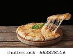 Tasty Sliced Pizza With Basil...
