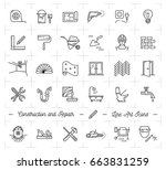 construction icons repair house ... | Shutterstock .eps vector #663831259