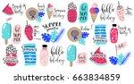 summer labels  logos  hand... | Shutterstock .eps vector #663834859