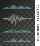 set of colored sound waves... | Shutterstock .eps vector #663837970