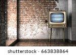 vintage tv receiver 3d... | Shutterstock . vector #663838864