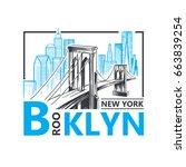 vector illustration. brooklyn... | Shutterstock .eps vector #663839254