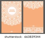 wedding invitation or card with ... | Shutterstock .eps vector #663839344