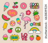 Stock vector set of fashion patches fun stickers cute badges vector in cartoon style 663839524