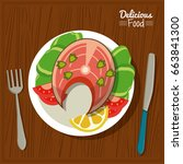 poster delicious food in... | Shutterstock .eps vector #663841300