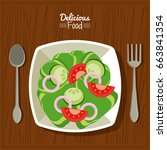 poster delicious food in... | Shutterstock .eps vector #663841354