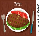 poster delicious food in... | Shutterstock .eps vector #663841480