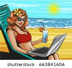 vector illustration of woman in ... | Shutterstock .eps vector #663841606
