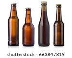 brown beer bottles isolated on... | Shutterstock . vector #663847819