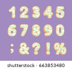 set of numbers and punctuation... | Shutterstock .eps vector #663853480