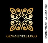 luxury ornamental logotype.... | Shutterstock .eps vector #663855700