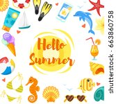 vector cartoon style web hello... | Shutterstock .eps vector #663860758