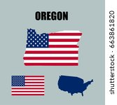oregon map with usa flag | Shutterstock .eps vector #663861820