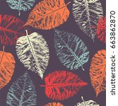 seamless pattern with imprint... | Shutterstock .eps vector #663862870