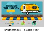web banner with camping trailer ... | Shutterstock .eps vector #663864454