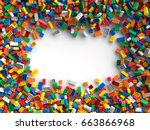 colored toy bricks with place... | Shutterstock . vector #663866968