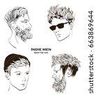 indie men. hipster hair style.... | Shutterstock .eps vector #663869644