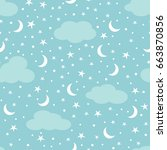 clouds  moon and stars in the... | Shutterstock .eps vector #663870856