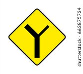 traffic sign . y intersection... | Shutterstock .eps vector #663875734