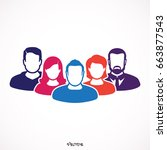 people avatars group icons in... | Shutterstock .eps vector #663877543