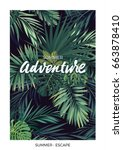 dark vector tropical design... | Shutterstock .eps vector #663878410